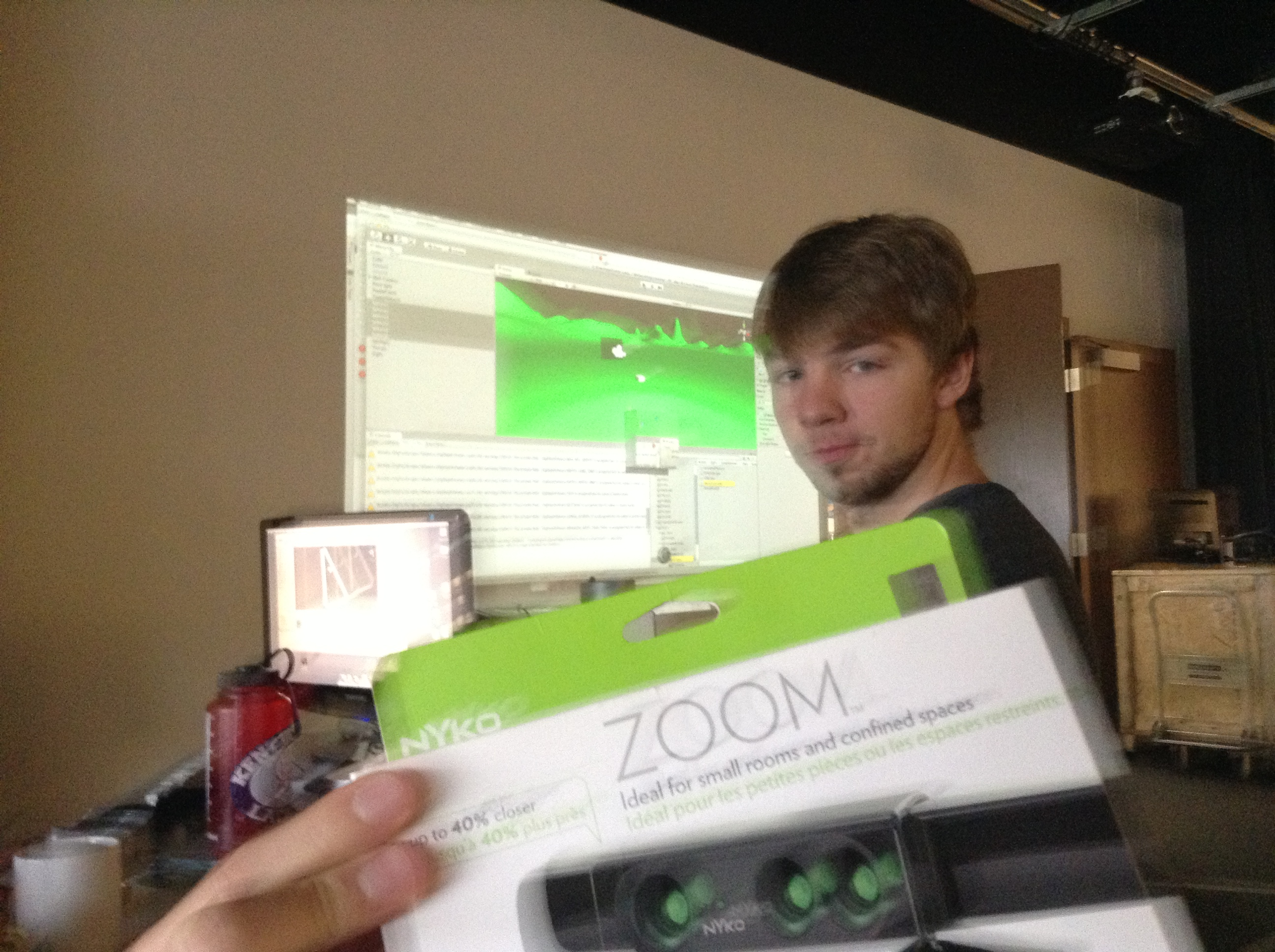 Tommy Hoffmann working to optimize code now that we've attached Nyko Zoom to the Kinect sensor.