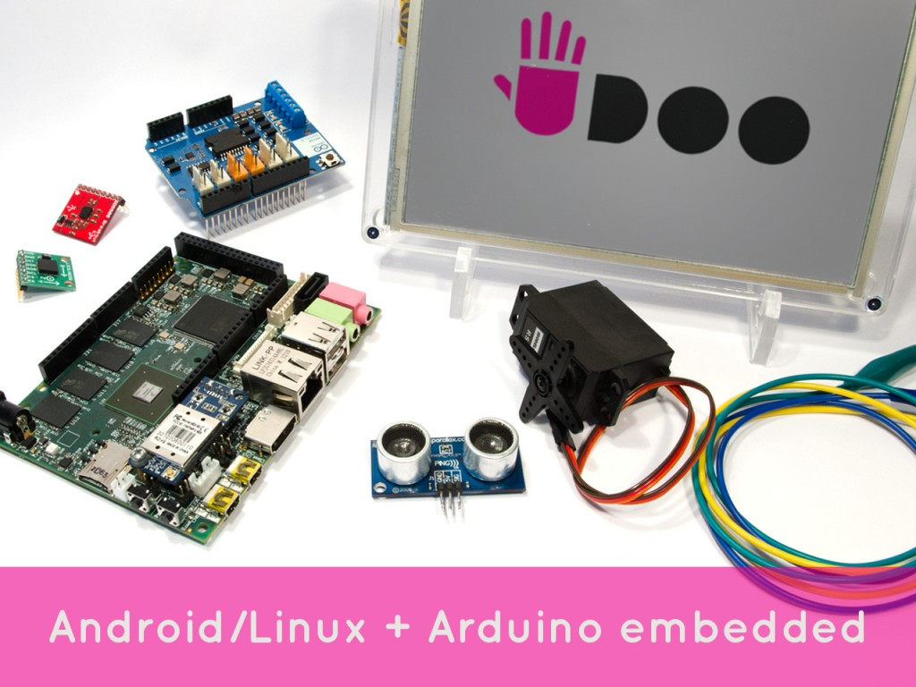 Udoo development board with a variety of sensors and a display