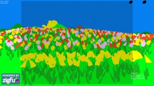 Screen capture from one of the playscapes of Sow/Reap. The image depicts a cartoon field with yellow poppies in the foreground and pink, red, and yellow poppies in the background.