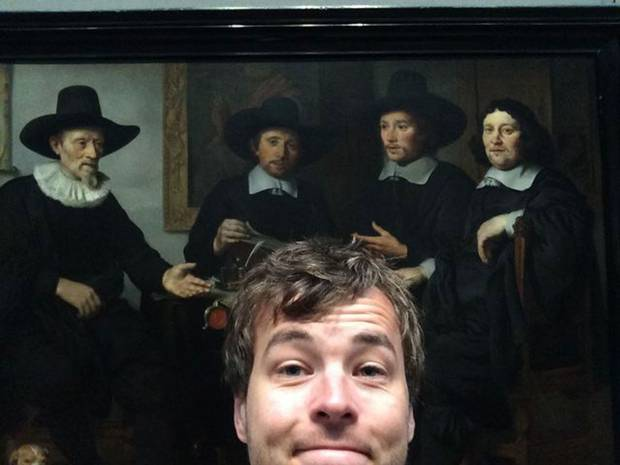 selfie with dutch masters painting